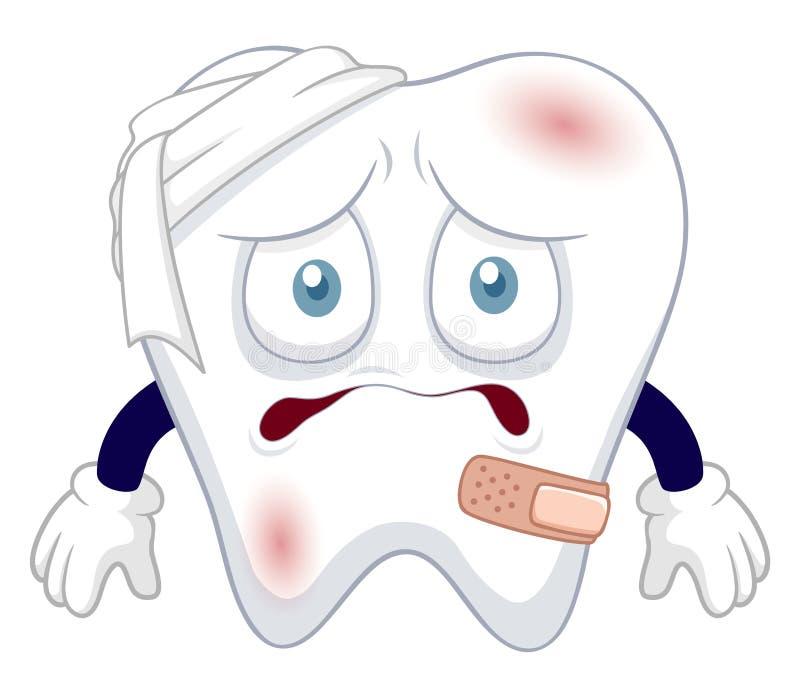 Зуб шаржа был поврежден иллюстрация вектора