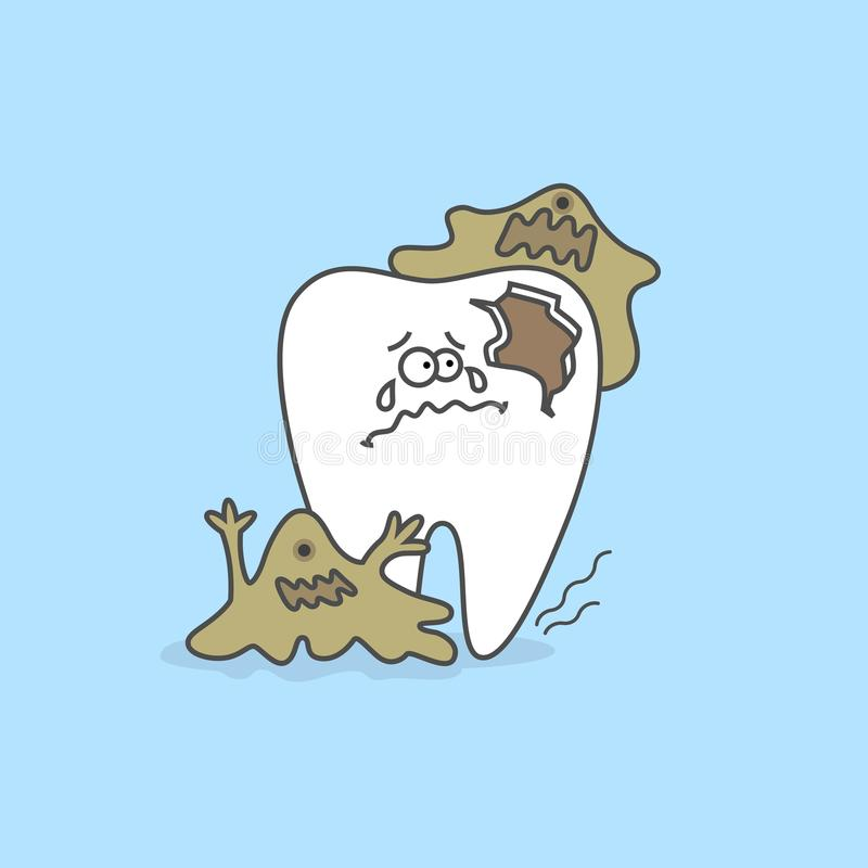 Зуб шаржа с бактериями Концепция зубоврачебной заботы иллюстрация штока