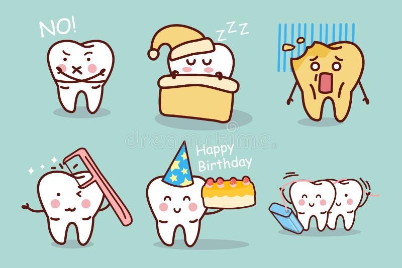 Зуб шаржа с зубочисткой иллюстрация штока