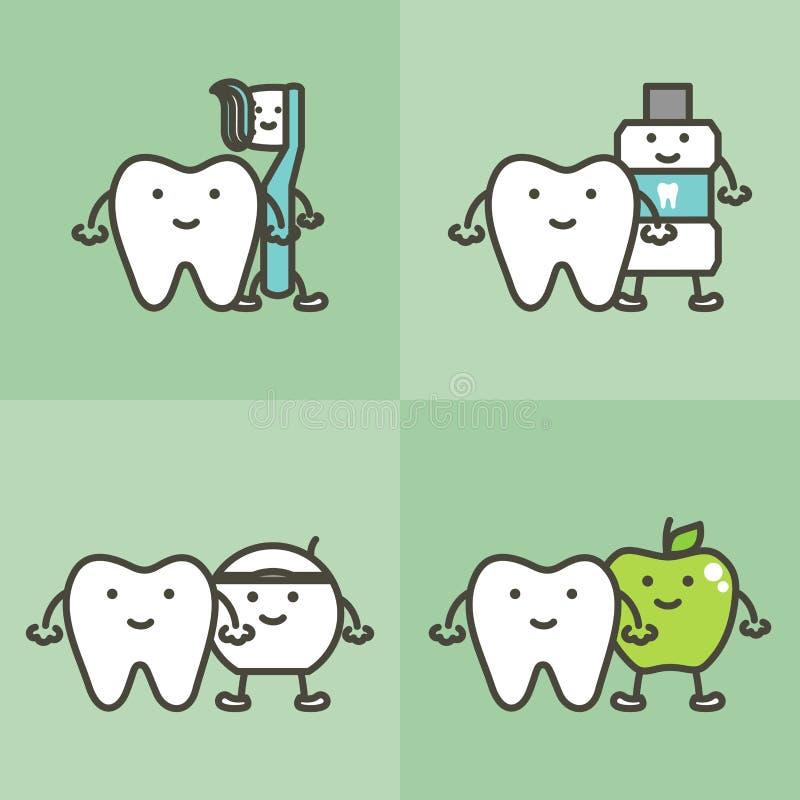 Зуб Healty и лучшие други зубная щетка, зубная паста, mouthwash, зубочистка и яблоко, зубоврачебная забота и концепция гигиены бесплатная иллюстрация