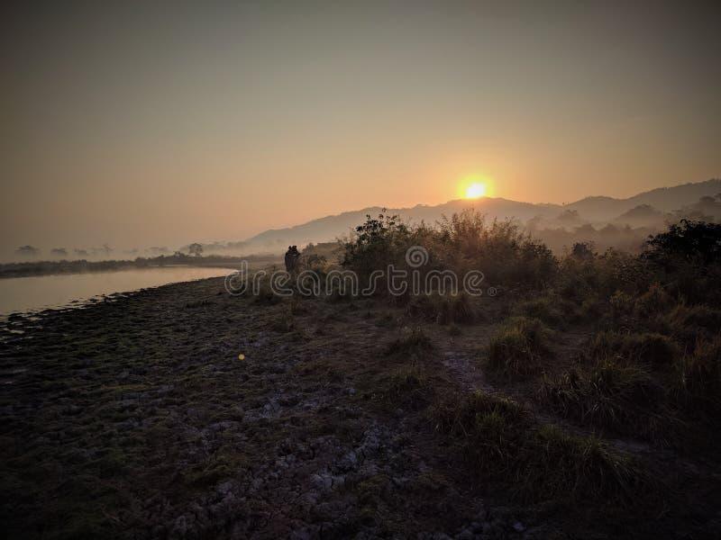Злаковик восхода солнца зимы стоковая фотография rf