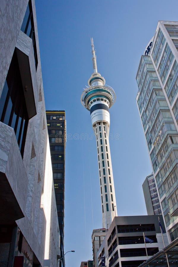 Здание башни неба в центральном Окленде, Новой Зеландии стоковая фотография rf