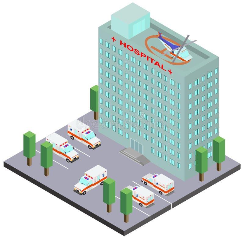 Здание больницы, автомобили машины скорой помощи и вертолет бесплатная иллюстрация