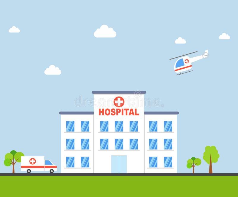 Здание больницы города с машиной скорой помощи и вертолетом в плоском дизайне Вектор клиники иллюстрация штока