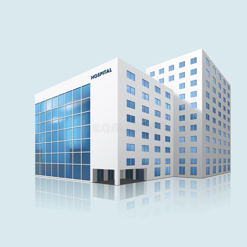 Здание больницы города с отражением стоковое фото