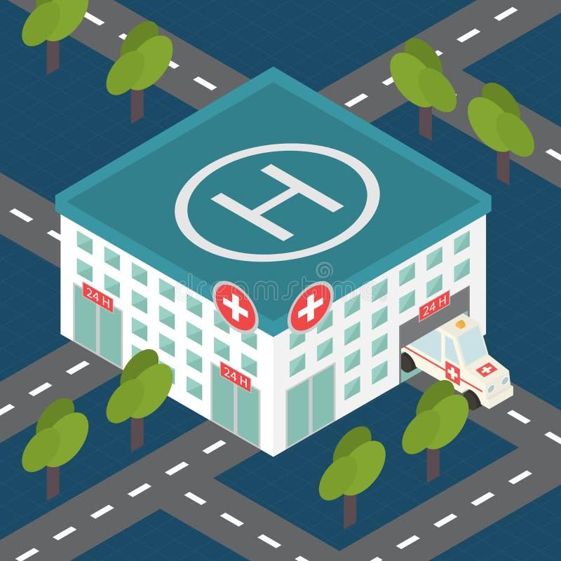 Здание больницы, медицинский плоский равновеликий вектор бесплатная иллюстрация