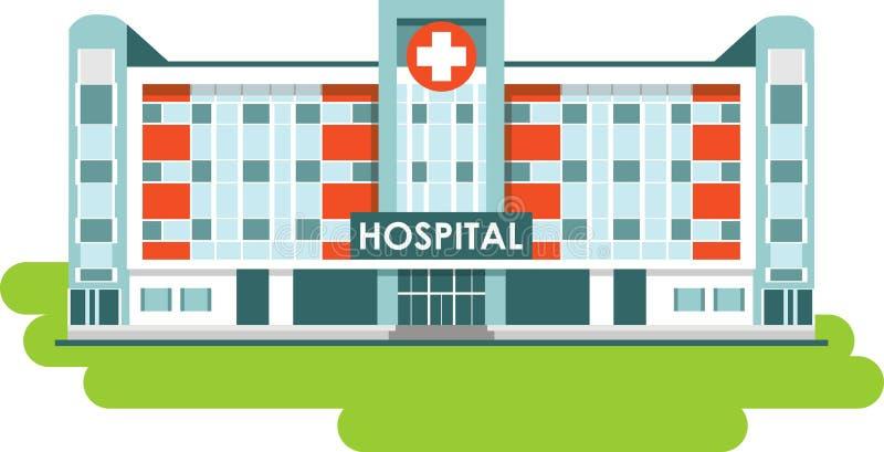 Здание больницы на белой предпосылке иллюстрация штока