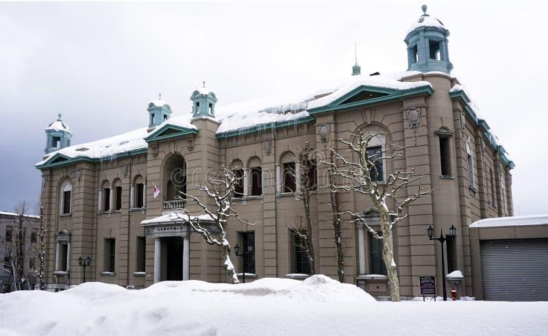 Здание города городка Otaru старое в зиме снега стоковая фотография rf