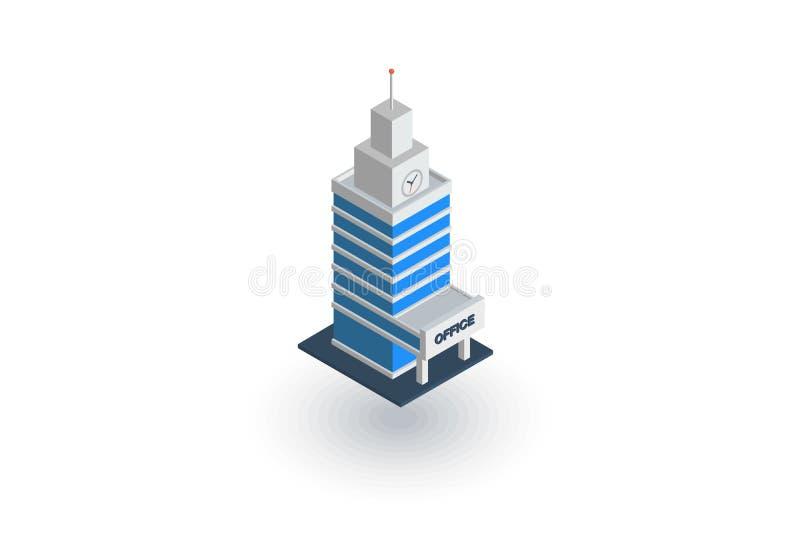 Здание города офиса, значок городского небоскреба равновеликий плоский вектор 3d иллюстрация вектора