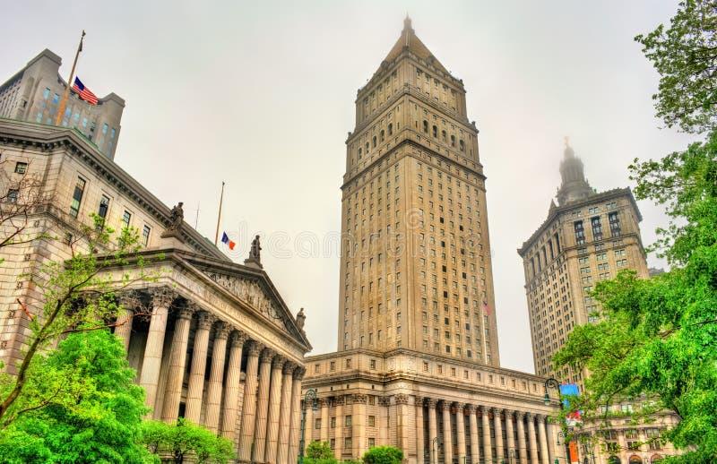 Здание здания суда и Манхаттана Thurgood Marshall Соединенных Штатов муниципальное в Нью-Йорке стоковая фотография