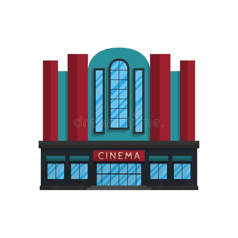 Здание кино в плоском стиле изолированное на белой предпосылке иллюстрация штока