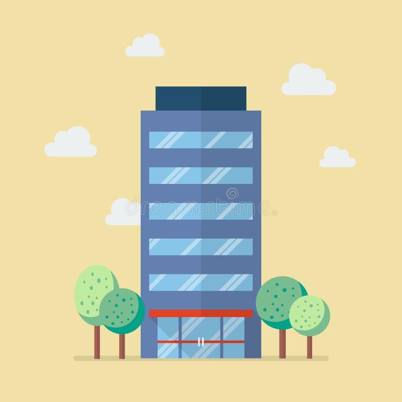 Здание компании в плоском стиле иллюстрация вектора
