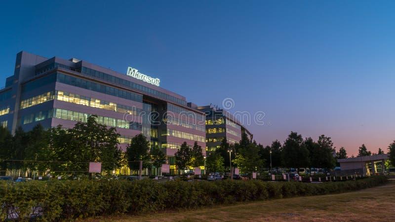 Здание Майкрософт Офис 1-ого июня 2014 в Москве стоковые фотографии rf