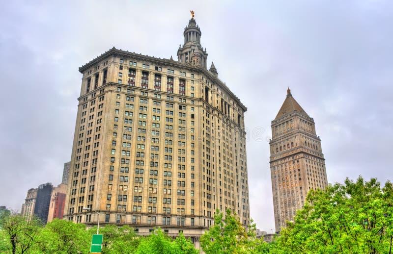 Здание Манхаттана муниципальное и здание суда Thurgood Marshall Соединенных Штатов в Нью-Йорке стоковые изображения