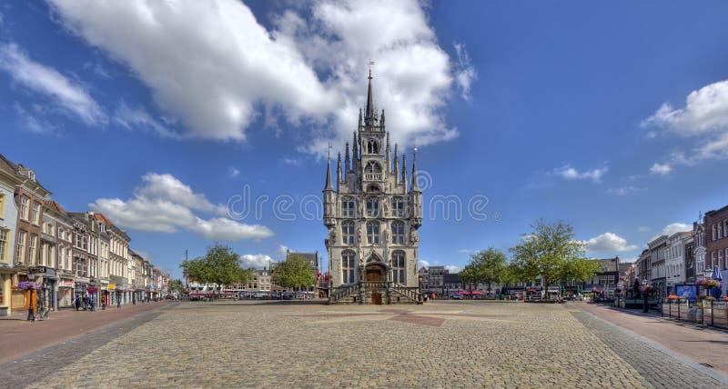 Здание муниципалитет гауда, Голландии стоковые фотографии rf