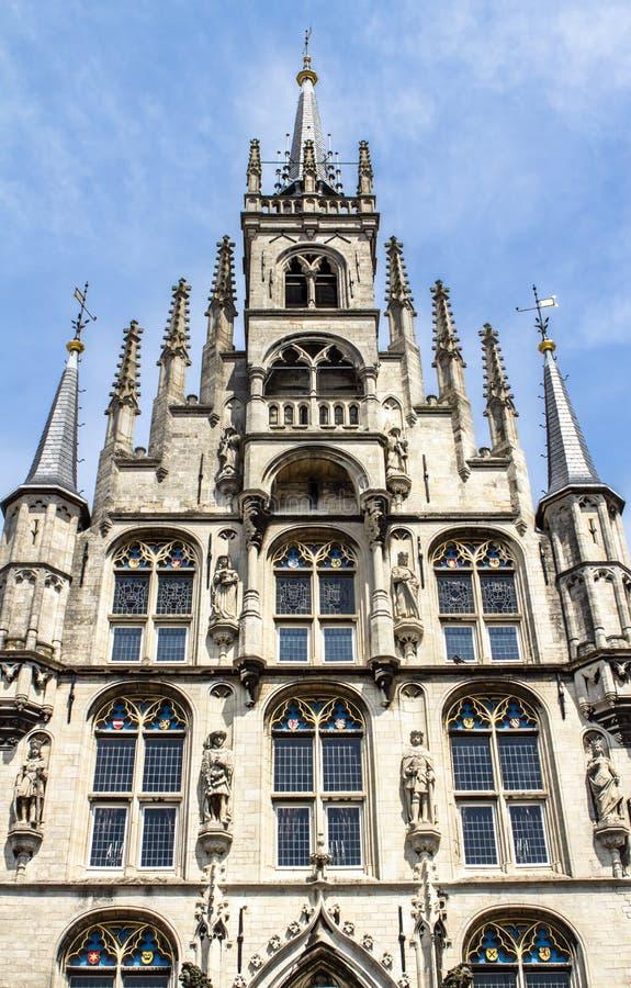 Здание муниципалитет, гауда, Нидерланды стоковые изображения rf