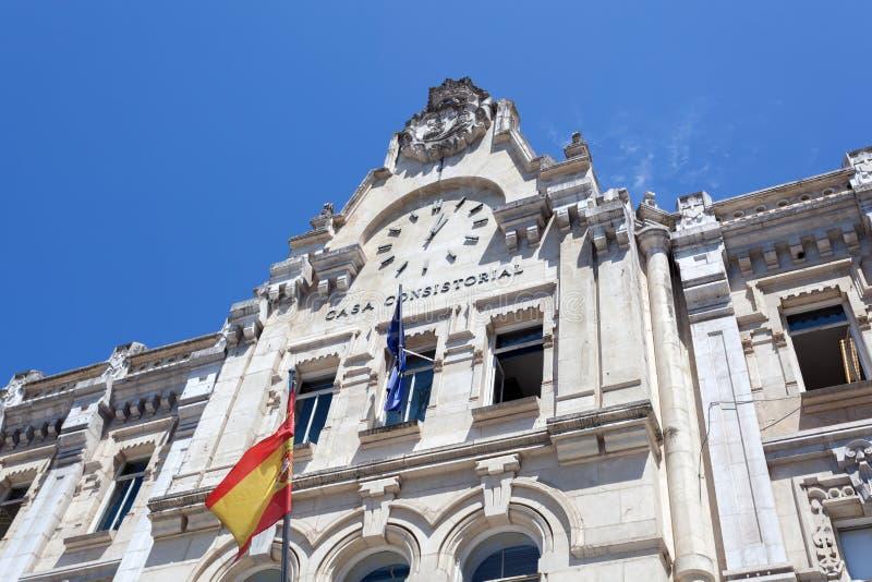 Здание муниципалитет Сантандера, Испании стоковое фото rf