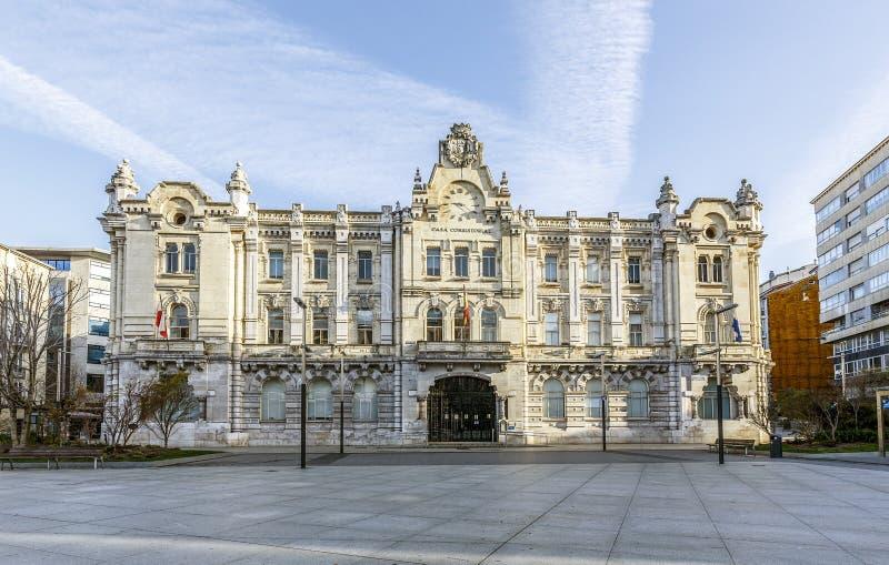 Здание муниципалитет Сантандера, Испании стоковые фото