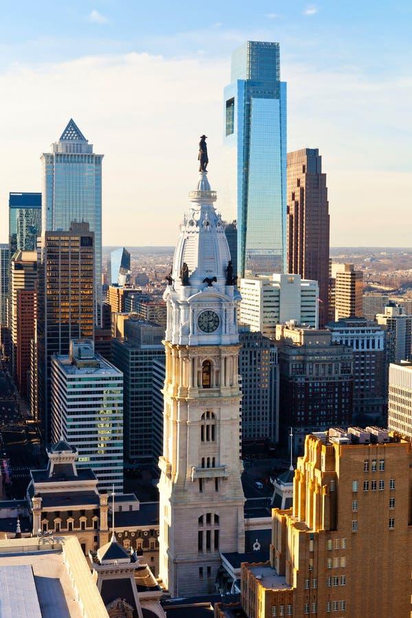 Здание муниципалитет Филадельфии от высоты стоковые изображения rf