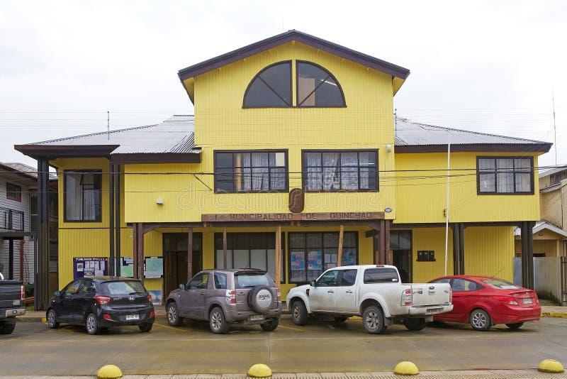 Здание муниципалитет Qunchao, архипелаг Chiloe, Чили стоковая фотография