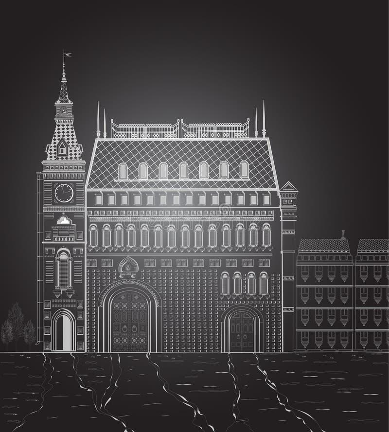 Здание ночи иллюстрация штока