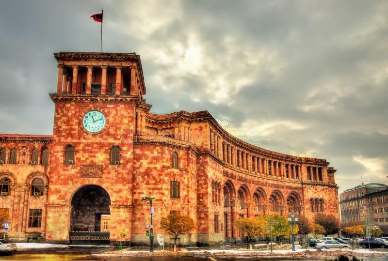 Здание правительства на квадрате республики Еревана стоковое фото