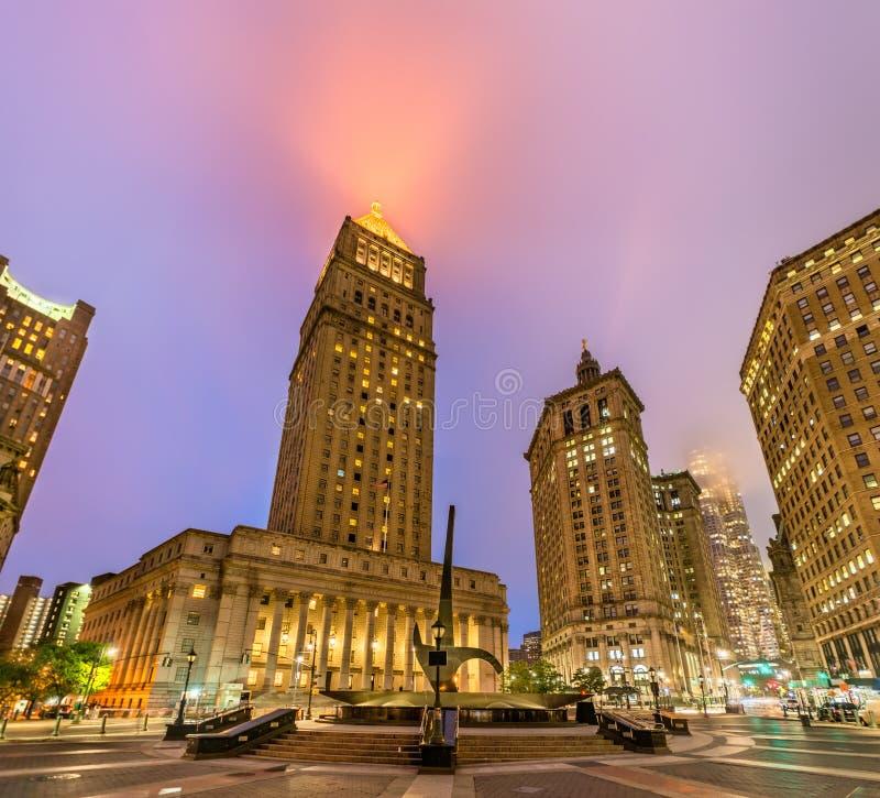 Здание суда загоренное на ноче, Нью-Йорк Thurgood Marshall Соединенных Штатов стоковое изображение