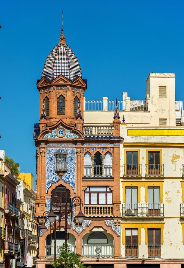 Здания в центре города Севильи, Испании стоковое фото rf