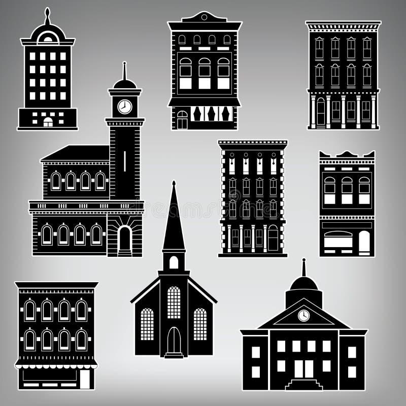 Здания главной улицы маленького города иллюстрация штока