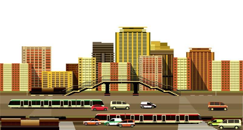 Здания и скоростное шоссе города бесплатная иллюстрация