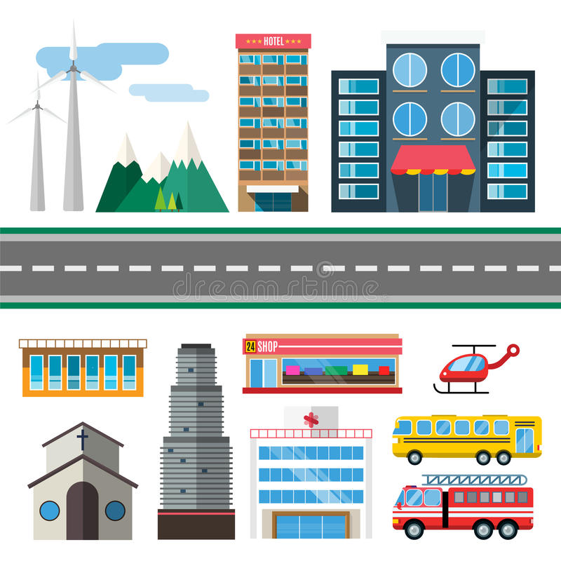 Здания и стиль перехода города плоский иллюстрация штока
