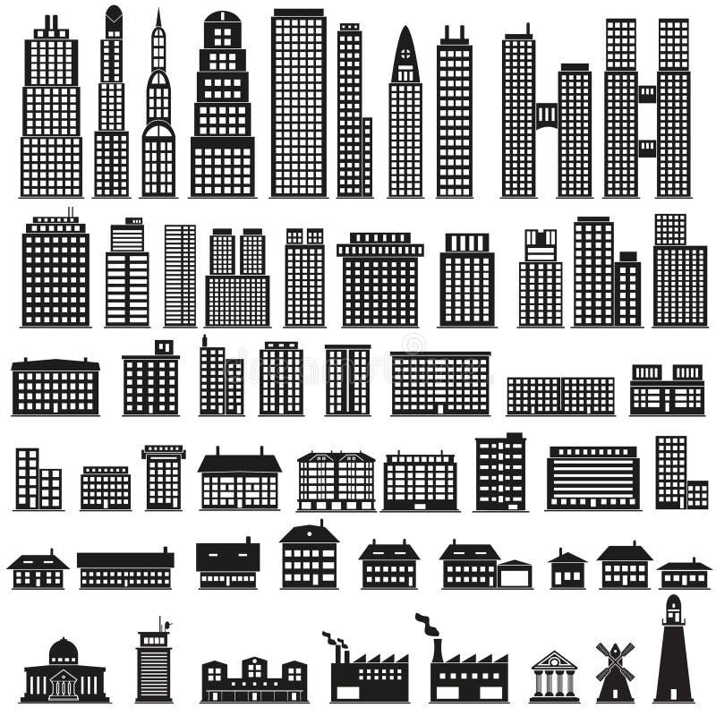 Здания - комплект значка зданий иллюстрация вектора