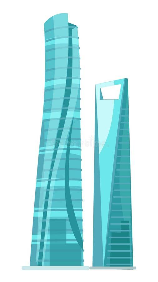 Здания небоскреба 2 стеклянные изолированные на белизне иллюстрация вектора