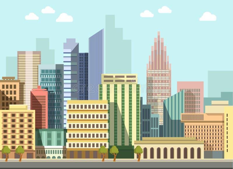 Здания панорамы дня современного городского вектора ландшафта города плоские иллюстрация вектора