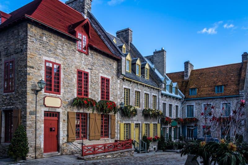 Здания площади Пляс Руаяль королевские - Квебек (город), Канада стоковые изображения rf