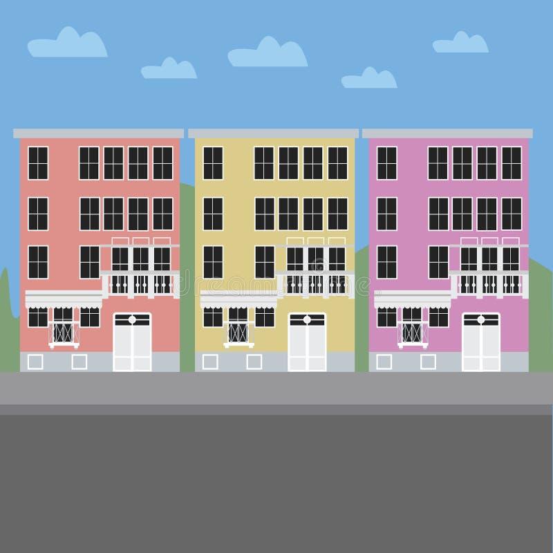 здания цветастые бесплатная иллюстрация