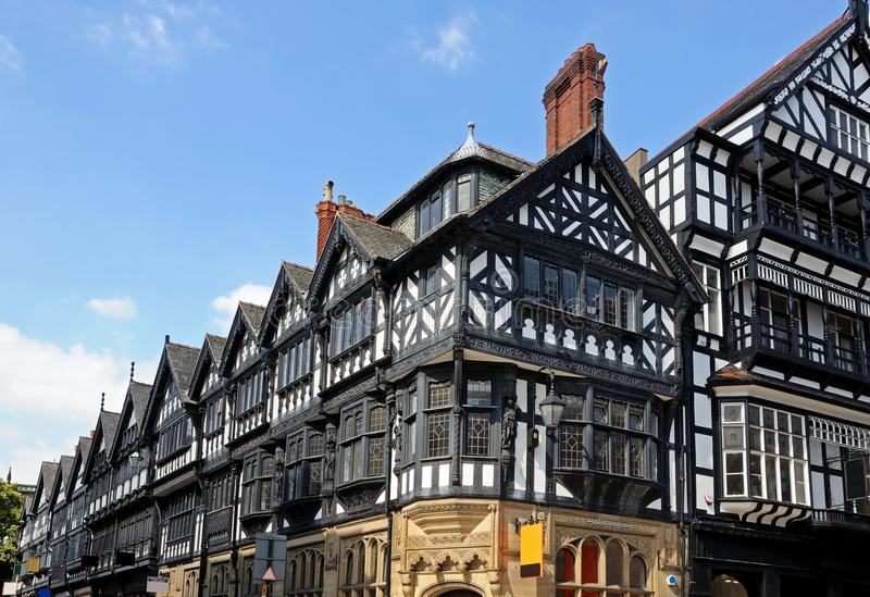 Здания Tudor, Честер стоковые изображения