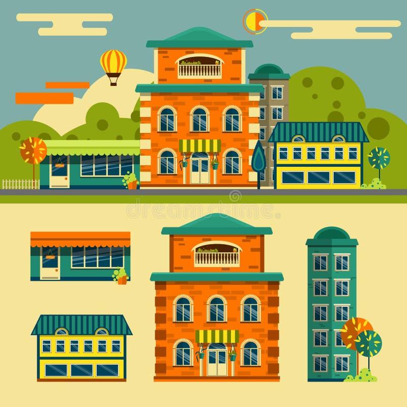 Здания vector комплект Ландшафт улицы маленького города иллюстрация вектора