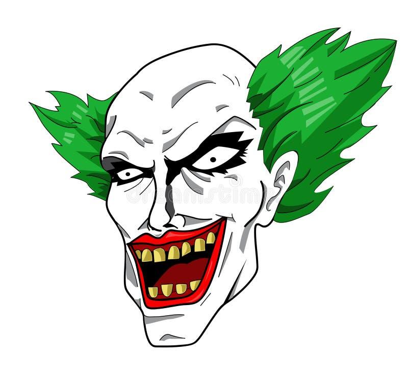 Злая голова клоуна иллюстрация штока