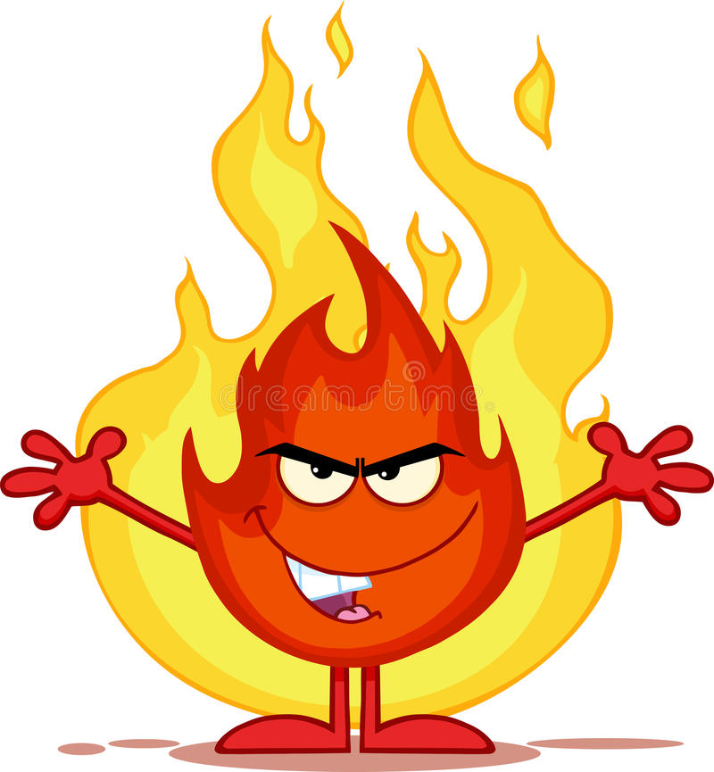 Злий персонаж из мультфильма огня с открытым оружием перед пламенами иллюстрация вектора