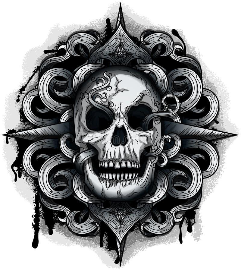 Злий смотря череп иллюстрация штока