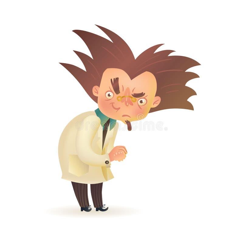 Злий сумашедший профессор с поднятой бровью в пальто лаборатории иллюстрация штока