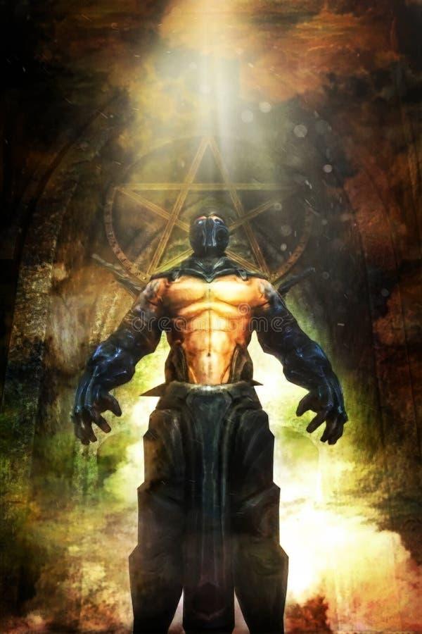 Злий fiend демона фантазии ратника иллюстрация вектора
