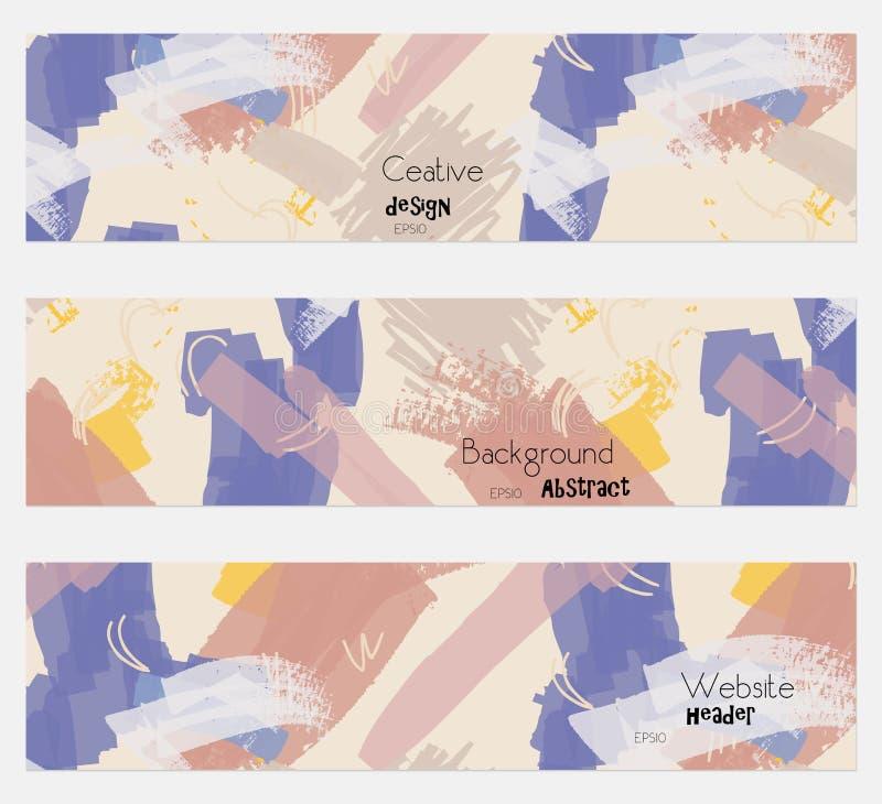 Злопамятность текстурировала комплект знамени ходов cream голубой иллюстрация вектора