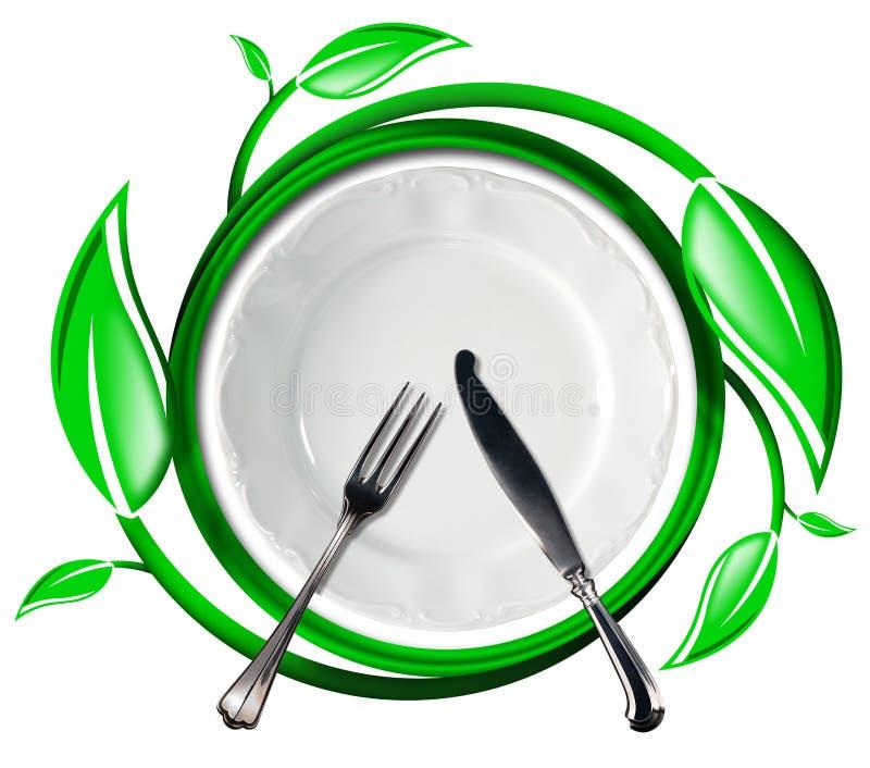 Здоровая еда - зеленый значок с листьями иллюстрация вектора