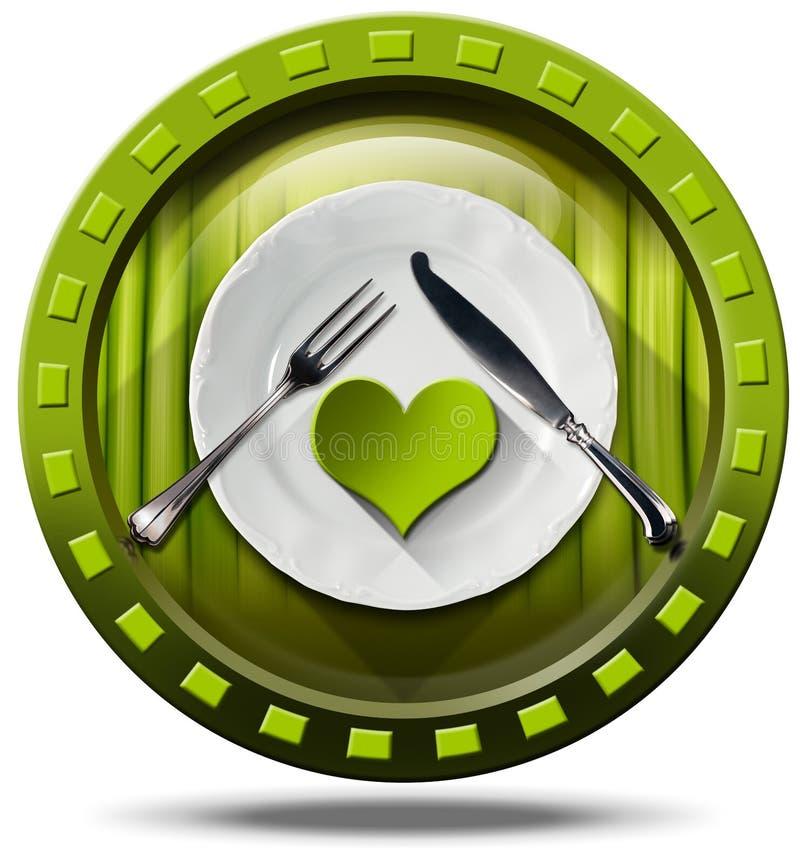 Здоровая еда - зеленый значок иллюстрация вектора