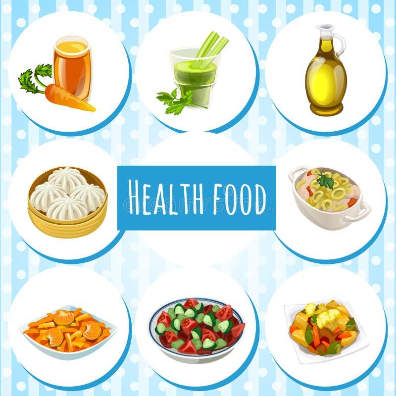 Здоровая еда, 8 значков блюд и пить бесплатная иллюстрация