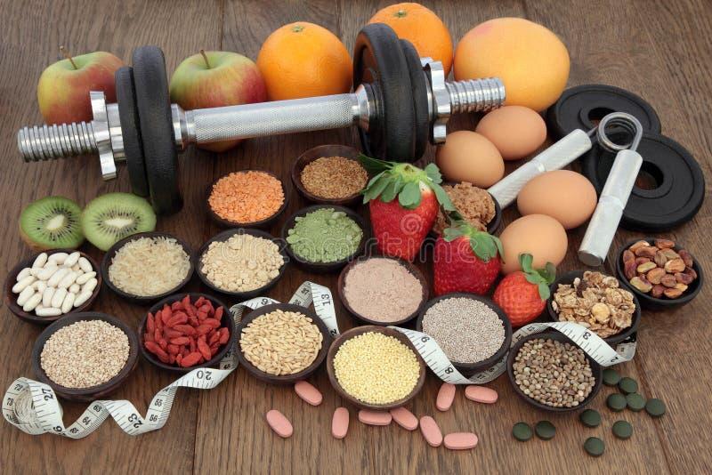 Здоровая еда диеты и режим тренировки стоковая фотография rf