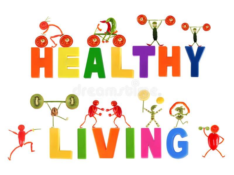 Здоровая еда. Маленькие смешные люди сделанные из овощей и плодоовощ иллюстрация вектора