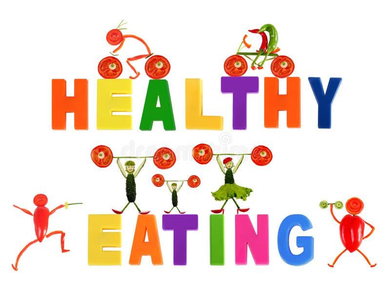 Здоровая еда. Маленькие смешные люди сделанные овощей иллюстрация вектора